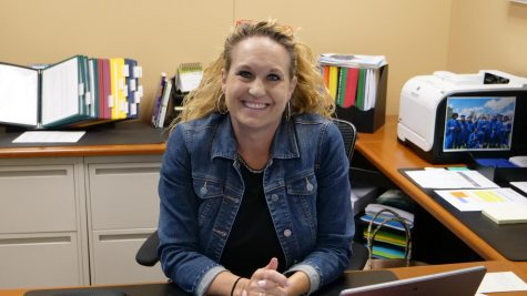 New principal, Tracie Cormaney, in the middle of a busy day.