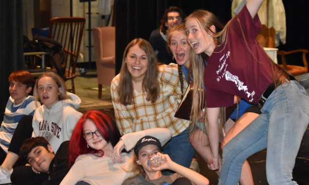Company members of Sense and Sensibility let loose during rehearsal.