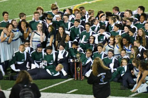 Marching Band celebrates their win at Harrison Marching Festival.